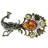 Broche de plata de ley 925 con ambar del Baltico joyeria