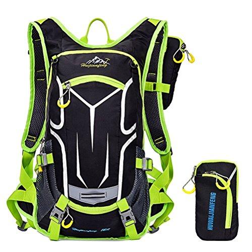 Erwachsene Fahrradrucksack 18L Ultraleicht Trinkrucksack Reiserucksack Sportrucksack MTB-Reiten Rucksack Tagesrucksack mit Rucksack Regenschutz Outdoor, Grün
