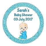 24Personalisierte Baby Dusche Blue Boy Fake Faux Glitter-Look Cute Baby Dusche Partei Tasche Danke Sweet Konus Aufkleber Etiketten DE4