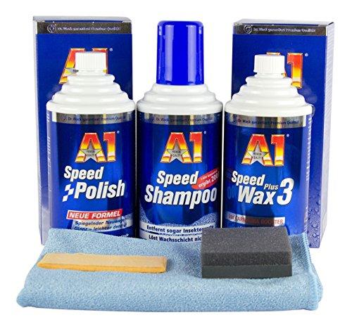 Preisvergleich Produktbild DR. WACK A1 Speed Polish Politur & Speed Wax Plus 3 & Shampoo & Mikrofasertuch