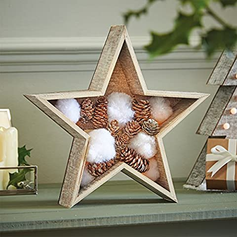 Wooden Ornament Decorations - Cotton Ball Star - 28cm - Warm White LEDs - Battery Operated by Festive Lights