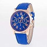 Reloj de moda, Aleación de correa de diseño analógico Shi Ying reloj de los hombres(Azul)