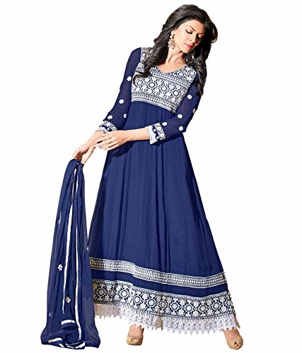 Blue Anarkali Georgette Semi Stitched Salwar Suit| Riti Riwaz - Ar11007
