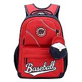 Gwell Sac à dos Enfant Backpack Garçons Sac à dos école primaire Pendentif de casquette de base-ball Rouge