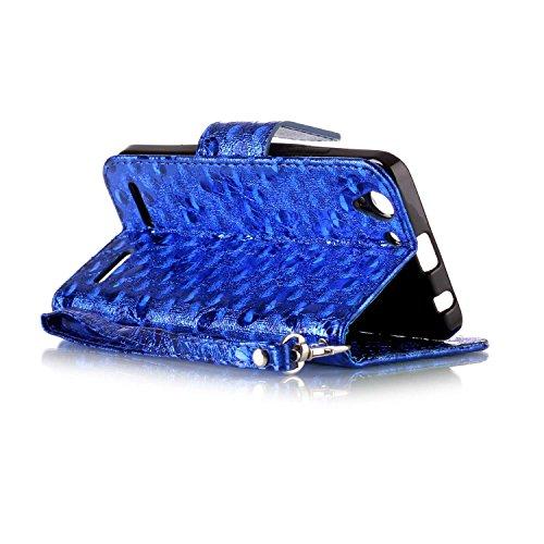 Custodia Lenovo Vibe K5, Cover Lenovo Vibe K5, JAWSEU Lenovo Vibe K5 Lenovo K5 A6020 Custodia Cover Lusso Liscio Farfalla Creativo Wallet Pouch Custodia per Lenovo Vibe K5 Leather Flip Cover con Morbi Farfalla, Blu