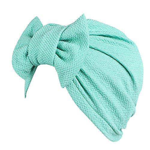 iShine Indien Turban Cap Moslemin Turban Weibliche Elastic mit Groß Schleife Monochrome Kopftuch Mütze für Haarausfall Krebs Chimio (Biker Baby Kostüm)