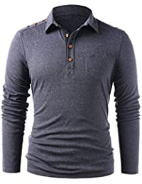 QinMM Camiseta Polos de Botones de Manga Larga para Hombre Color sólido Casual Delgada Camiseta Blusa