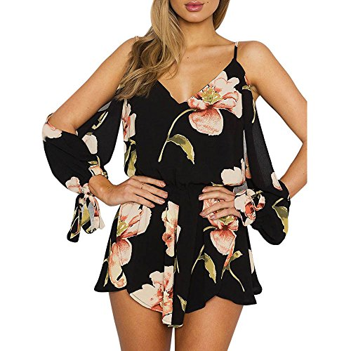 ❤️Lilicat Womens Off Épaule Imprimé Floral Printed Plage Tube UNE Pièce Pantalons Vacances Mini Combishort Dames Shorts Combinaison S-3XL (Black-1, M) LILICAT-Robe&Jupe
