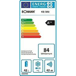 Bomann KB 389 Mini-Kühlschrank/A++ / 51 cm Höhe / 84 kWh/Jahr / regelbarer Thermostat/Kühlmittel R600a / weiß
