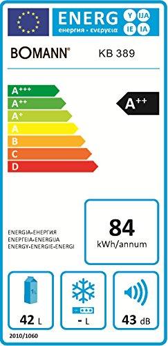 Bomann KB 389 Mini-Kühlschrank/A++ / 51 cm Höhe / 84 kWh/Jahr/regelbarer Thermostat/Kühlmittel R600a / weiß
