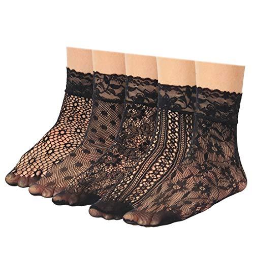 kilofly Damen 5 Paare -Spitze-Netz-Socken-Knöchel Kleid Liner Strümpfe Schwarz Einheitsgröße -