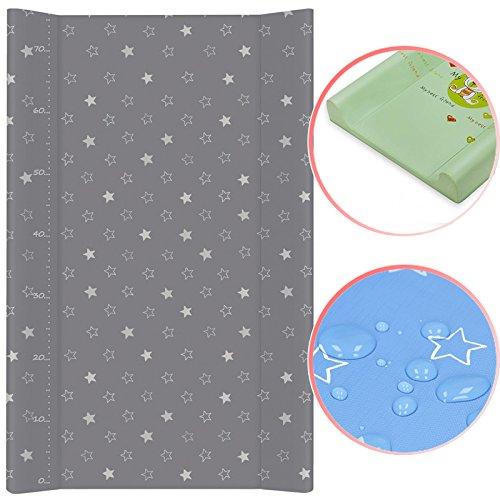 Wickelauflage mit fester Unterlage 50x80cm Sterne dunkelgrau Bettauflage Baby Pflege Auflage Wickeln