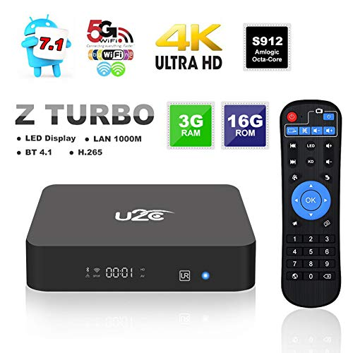 Z Turbo Android 7.1 TV Box, 3GB RAM 16GB ROM Amilgic S912 CPU Smart TV Box 64 Bit Bluetooth 4.1 4K 3D H.265 Dual Band WiFi 2.4GHz/5GHz 1000M LAN Media Player
