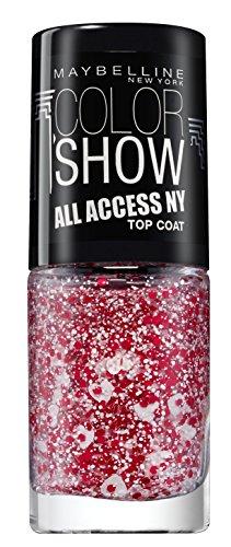 (Maybelline New York Make-Up Nagellack Color Show Topcoat Street Art White Splatter / Überlack mit Glitzerpartikeln in Blau-Violett und Weiß, 1 x 7 ml)