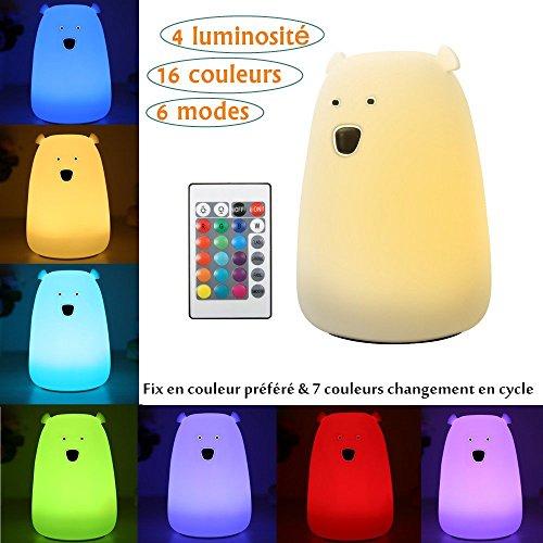 Réglable Rechargeable Luminosité Blanc Changement Led Télécommande Lampe De Couleur Silicone Ourson Usb Solmore Veilleuse Souple Chaudamp;7 À ED9IeW2YH