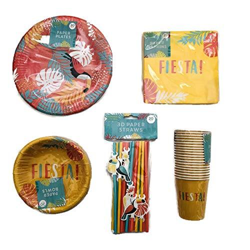 Tropical Fiesta Einweg-Geschirr-Set Für 20! Inklusive Pappteller, Pappschalen, Servietten, Becher, 3D-Strohhalme Celebration Party Supplies Geburtstags-Grillabschluss, Jahrestag - Fiesta-grill-grills