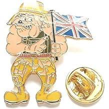 Bulldog Inglese Holding The Union Jack Distintivo Di Lapel Pin UFFICIALE