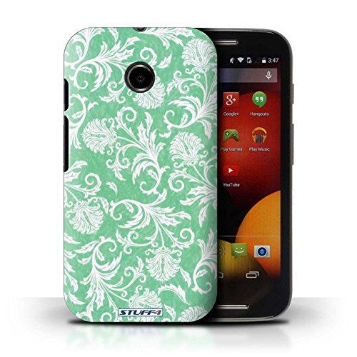 Kobalt® Imprimé Etui / Coque pour Motorola Moto E (2014) / Fond Orange conception / Série Fleurs Fond Vert