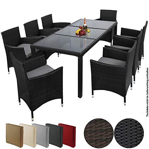 BB Sport 17-teilige Polyrattan Essgruppe für 8 Personen inkl. Sitzpolster und Bezüge, Farbe:Titan-Schwarz/Kieselstrand