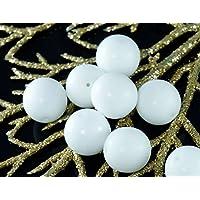 Grande Bianco Opaco Vetro ceco Tonda Perline Suola di Boemia 12mm 8pcs
