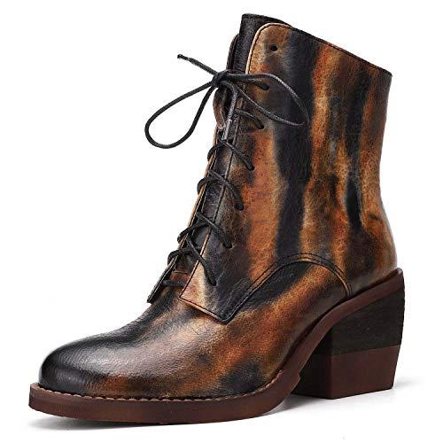 Shoe house Original Leder High Heel Martin Stiefel Winter Schnäppchen Retro-Vintage-Kurzstiefel Damen es Chelsea Knöchelstiefel,EU36/US6(M)/UK4