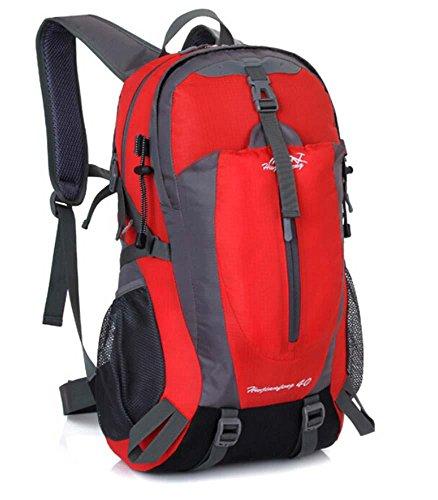 ShangYi Sport viaggi zaino outdoor trekking zaino campeggio ciclismo impermeabile sport borse per uomini e donne 40L , Black Red