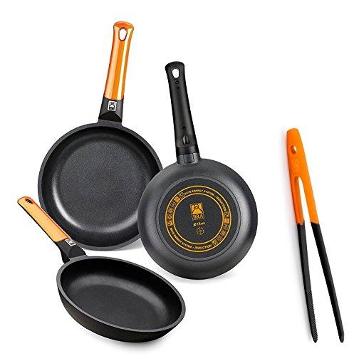 BRA Efficient Orange - Set de 3 sartenes, 20-24-28 cm, aluminio fundido con antiadherente Teflon Platinum Plus + Bra Air - Pinza de cocina de nailon