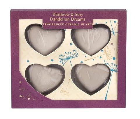 Heathcote and Ivory Dandelion Dreams Lot de 12 cœurs en céramique Parfum bois de santal et ambre Blanc