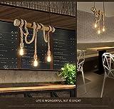 REAYOU Kronleuchter Retro Hemp Seil Hängeleuchte Industrielle Pendelleuchte Leuchte