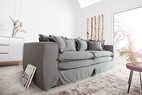 XXXL Hussensofa CLOUD grau Leinen Stoff Hussen 230cm Sofa Wohnlandschaft Couch Wohnzimmer - 2