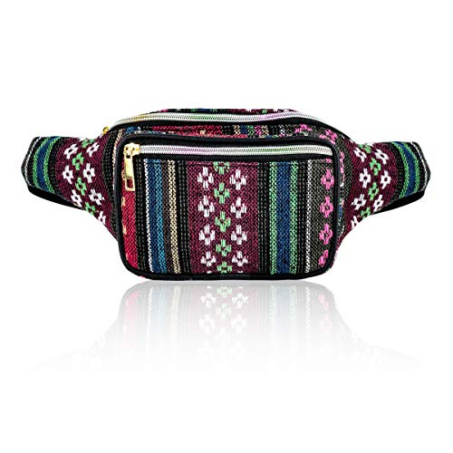 Boho Stripe Waist Pack Bag for Men Women Hip Bum Bag with Adjustable Strap for Outdoors W (No4) ()