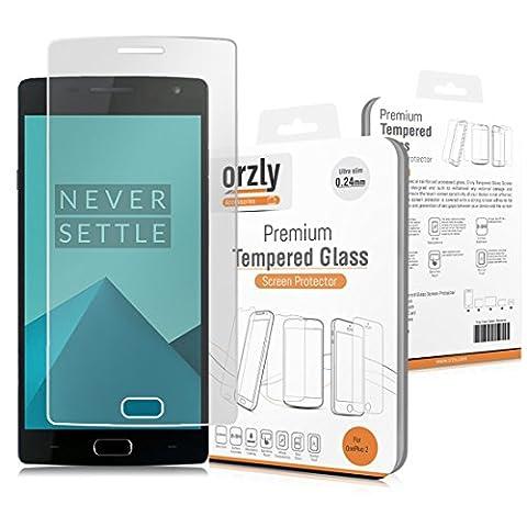 Orzly® - Premium Hartglas Displayschutzfolie für OnePlus 2 SmartPhone / Handy (2015 Modell / ONE PLUS TWO) - 0,24mm Gehärtetem Glas - Tempered Glass Screen Protector -