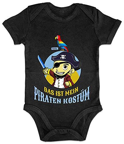 HARIZ Baby Body Kurzarm Das Ist Mein Piraten Kostüm Karneval Kostüm Plus Geschenkkarte Pinguin Schwarz 3-6 Monate