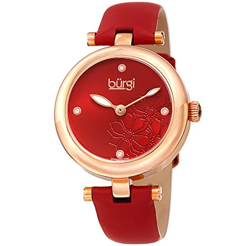 Burgi Femme Bur197rd Diamant Accentuée Fleur Cadran Rose doré et bracelet cuir rouge montre