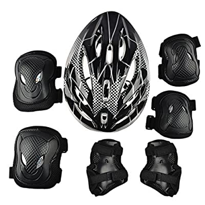 YAKOK Kids Helmet Set, 7pcs Kids Helmet Safety with Protective Gear Set for Bike Scooter Skateboard Skate for Child Boys and Girls, 7-15 Years Old by YAKOK
