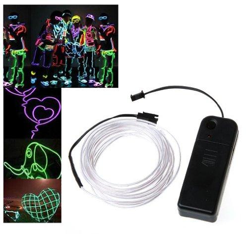 SODIAL(R) 3M flexible Neon Neonlicht Beleuchtung EL Wire EL Kabel ideal fuer Weihnachtsfeiern, Rave-Partys, Halloween-Kostuem oder einem Einzelhandelsgeschaeft Display mit Controller (Weiss)