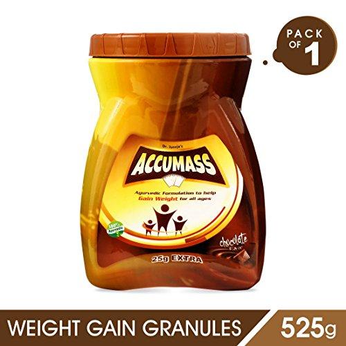 Accumass Weight Gainer Powder 525gm Chocolate Flavour With Shatavari, Draksha, Ashwagandha, Mass Weight Gainer, Herbal Weight Gain  available at amazon for Rs.519