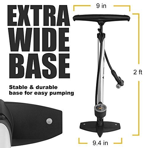 BV Bicycle Ergonomic Bike Floor Pump with Gauge and Smart Valve Head – Silver