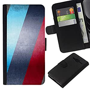 Leder Brieftasche Hülle Schutzhülle HandyHülle für Mobiltelefon Leather Wallet Case for Samsung Galaxy Core Prime / CECELL Phone case / / BLUE & roten Streifen /