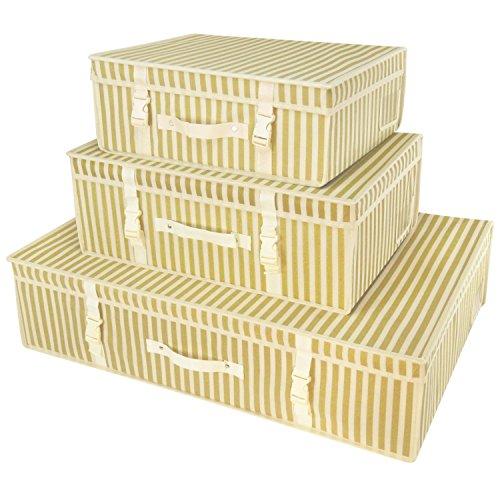 3 gold gestreifte Aufbewahrungsboxen für Kleider, Lagerung, Reisen, ph-Neutral Hangerworld