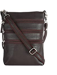 Hawai Casual Brown Genuine Leather Sling Bag For Unisex