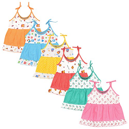 Luke and Lilly Baby Girls Cotton Frock Pack of 6