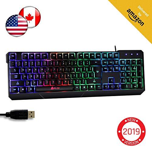 KLIM Chroma Tastatur Gamer mit USB Kabel - Hohe Leistung - bunte Beleuchtung ( Schwarz ) RGB PC Windows, Mac PS4 [ Neue Version ]