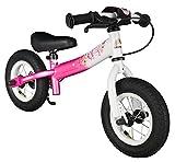 BIKESTAR Laufrad für Kinder, 2 Jahre alt, mit Luftreifen und Bremsen, 25,4 cm (10 Zoll), Sport-Edition, Flamingo Pink & Diamond White