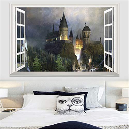 WSJIABIN Harry Potter 3D Wall Hole Poster Hogwarts