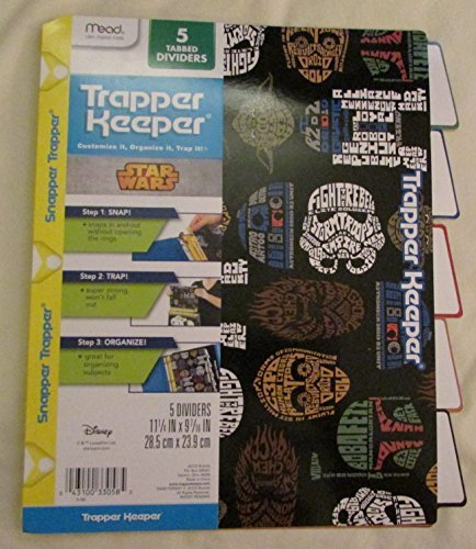 star-wars-trapper-keeper-5-tabbed-dividers-by-mead-assorted-designs-colored-tabs-by-mead