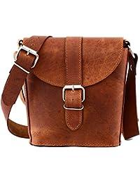 b47c731b2fe04 PAUL MARIUS Kleine Eimer Tasche Ledertasche Vintage-Stil Größe S  damentasche braun L AUTHENTIQUE