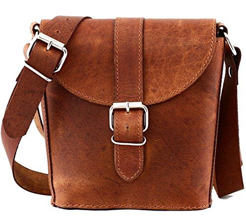 Aus Echtem Leder Eimer Handtasche (PAUL MARIUS Kleine Eimer Tasche Ledertasche Vintage-Stil Größe S damentasche braun L'AUTHENTIQUE)