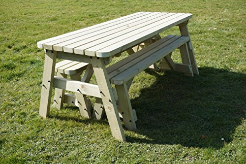 Victoria Compact Rounded Wooden Picnic Table and Benches Set, Space Saving Outdoor Garden Furniture With Benches Sliding Under The Table - Light Green or Rustic Brown Finish (3ft, Light Green Natural)