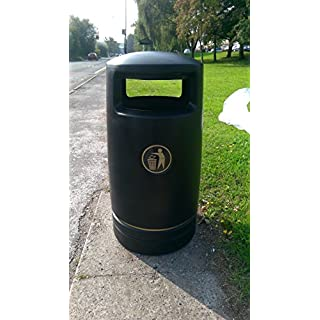 Advancedscape Hefton Large Capacity Plastic Outdoor Litter Bin Complete with an Ashtray Top - BLACK - AVAILABLE ON PRIME